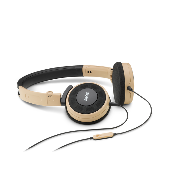 Y 30 - Brown - Stylish, uncomplicated, foldable headphones with 1 button universal remote/mic - Hero