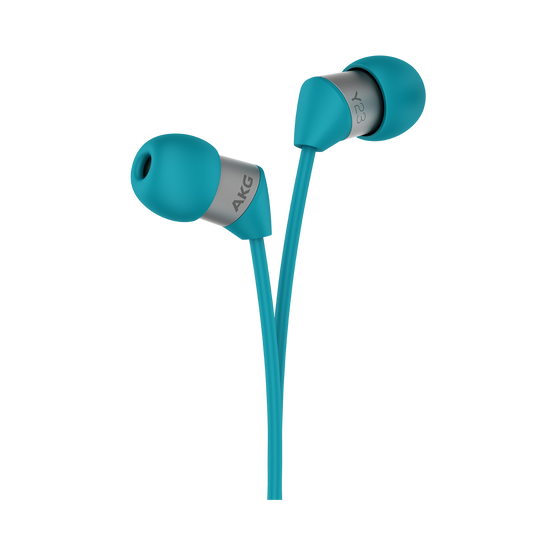 Y23U - Teal - The smallest in-ear headphones with universal remote and microphone - Detailshot 1