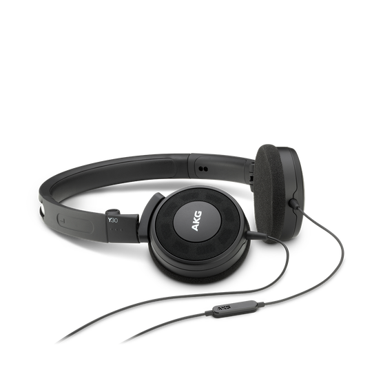 Y 30 - Black - Stylish, uncomplicated, foldable headphones with 1 button universal remote/mic - Hero
